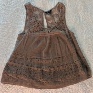 American Eagle Outfitters Taupe Lace tank